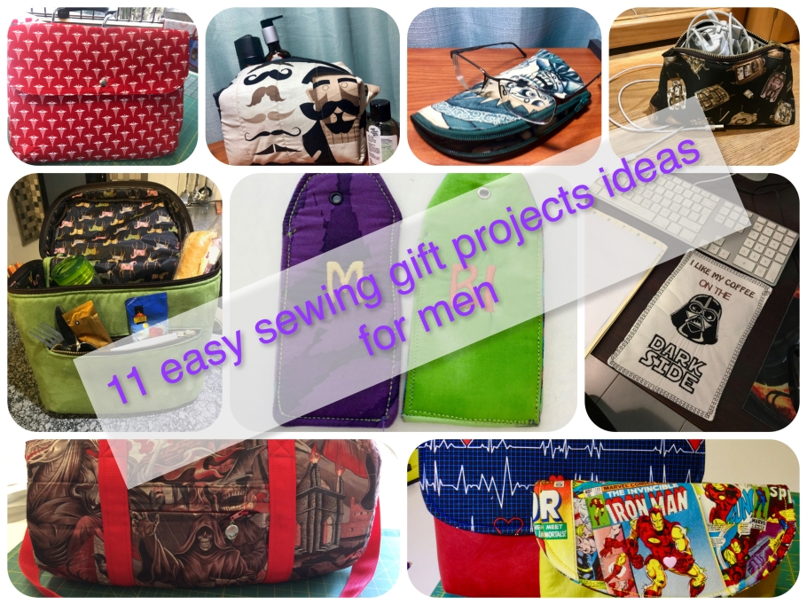 11 ideas de proyectos fáciles de regalos para hombres/ 11 Easy sewing gift projects ideas for men.